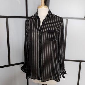 Ralph Lauren black silk pinstriped button down top